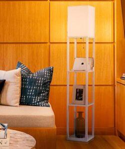 brightech maxwell led shelf floor lamp modern standing light for living rooms bedrooms