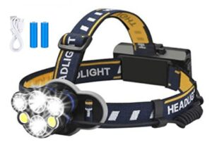18650 usb rechargeable waterproof flash headlight with 8 lighting modes