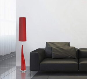 red lamp beside a couch