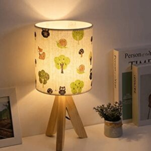 Tripod nightstand light with fabric shade