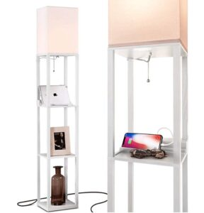 Brightech Maxwell Charging Edition LED Shelf Floor Lamp for home office