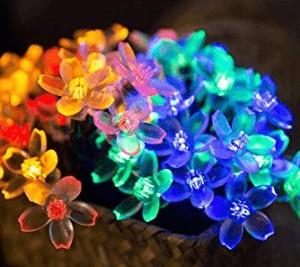flower blossom string light solar powered