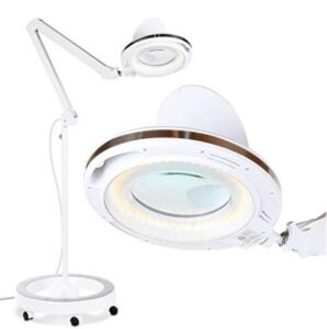 LED standing floor lamp with magnifier and rolling wheels