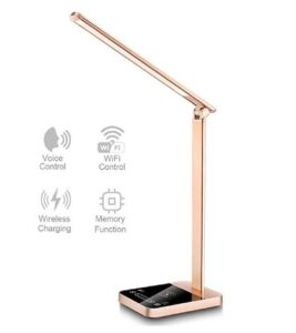 Smart desk lamp for office with voice control and wireless charger