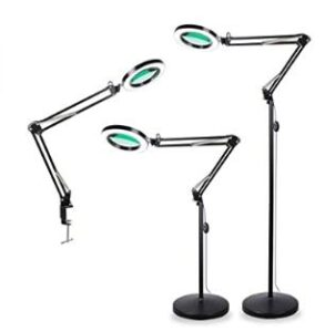 TOMSOO 3-in-1 Magnifying Glass Floor Lamp