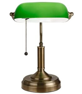 TORCHSTAR Retro Banker's Lamp Green Glass Desk Light