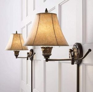 A pair of swing arm wall lamp for bedroom reading