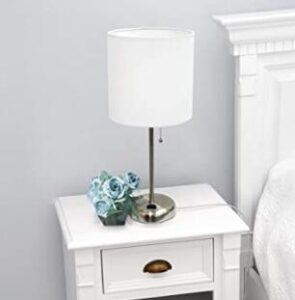 Limelights LT2024-WHT Brushed Steel Lamp for Night Table