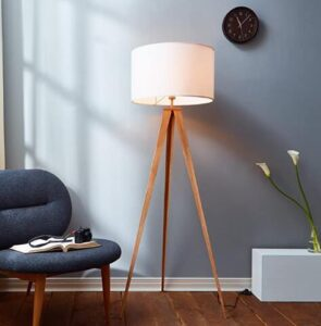 led floor lamp with metal tripod legs