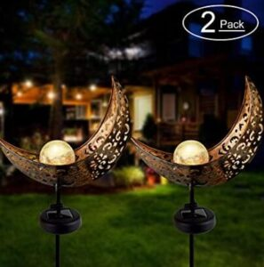 2 pack solar powered moon lamp for gardens