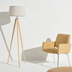 Brightech tall tripod floor lamp with wood legs