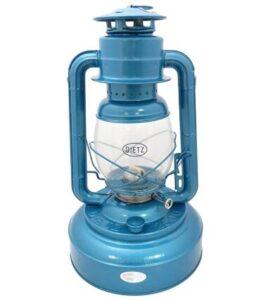 blue glass hurricane lamp