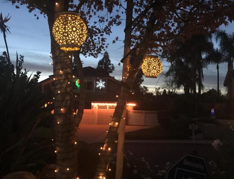2 pack outdoor led solar hanging lanterns
