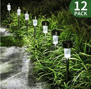 12 pack solar white led garden path lights