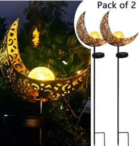 moon and ball led solar lights for gardens