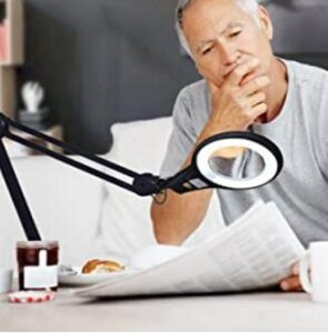 Brightech daylight clip on lamp with magnifier for aged eyes