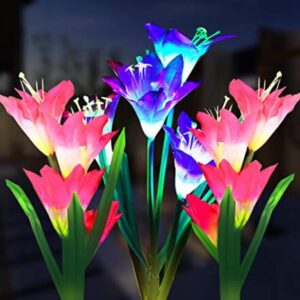 multi color lily shaped solar stake garden lights