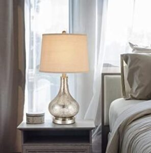 elegant gourd-shaped bedside tablel lamp with glass base