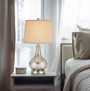 elegant gourd-shaped bedside tablel lamp with glass base