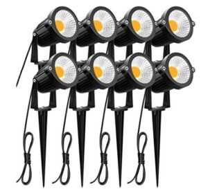 8 pack garden spotlights with warm white light