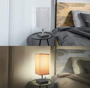 bedside table lamp with fabric shade