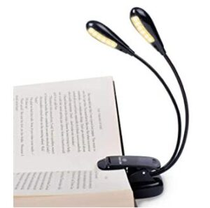 Vekkia book light for night reading with 2 lamp heads