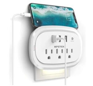 wall outlet with usb and night light