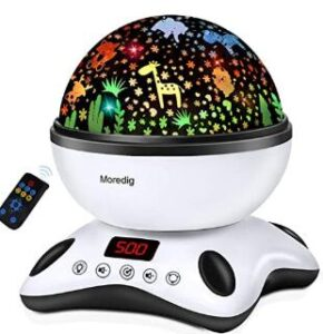 Moredig remote control night light projector with music for kids and adults