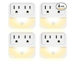 4 pack 3-prong plug night light with dusk to dawn light sensor