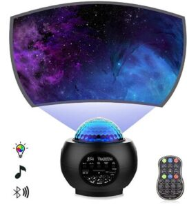musical night light projector with galaxy mode and ocean wave mode for ambiance