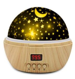 wooden star night projector lamp