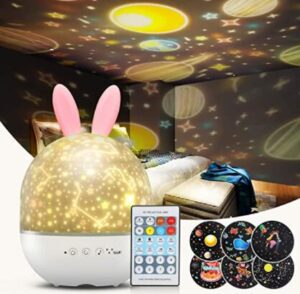 rotating night light projector with music